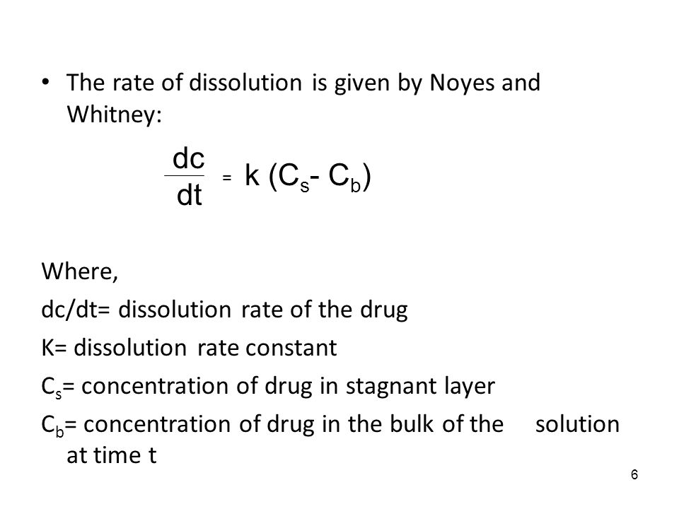 dt k (Cs- Cb) The rate of dissolution is given by Noyes and Whitney: