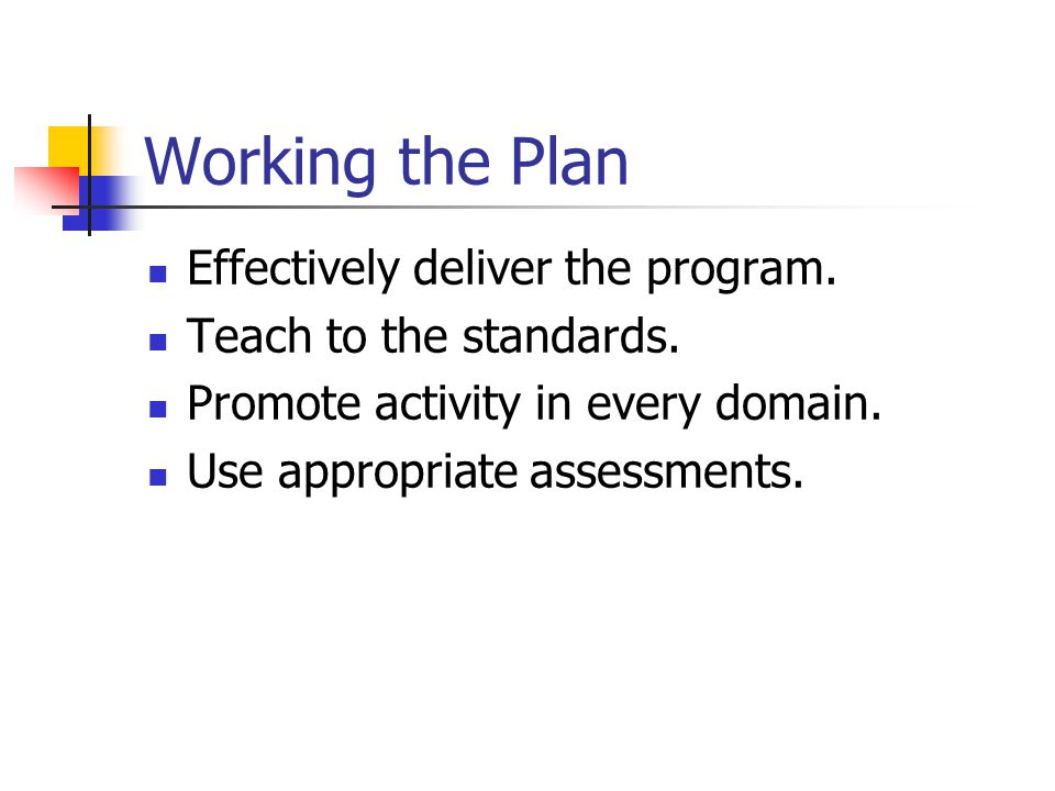 Working the Plan Effectively deliver the program.