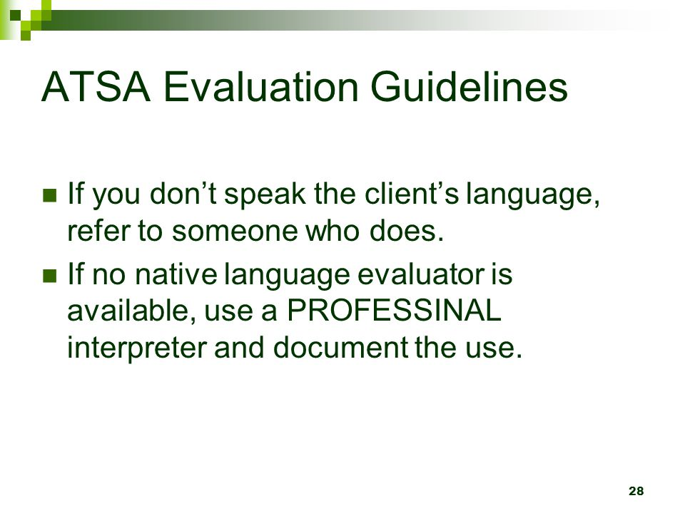 ATSA Evaluation Guidelines