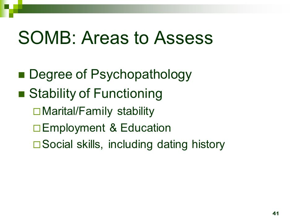 SOMB: Areas to Assess Degree of Psychopathology