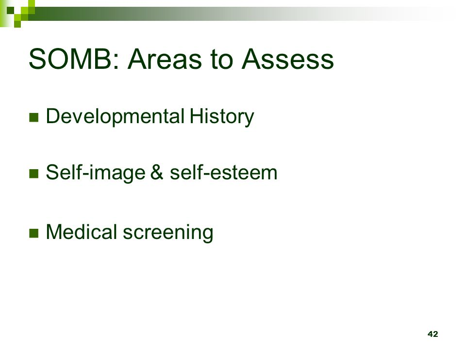 SOMB: Areas to Assess Developmental History Self-image & self-esteem