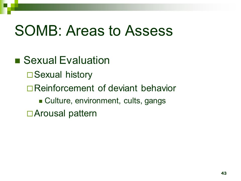 SOMB: Areas to Assess Sexual Evaluation Sexual history