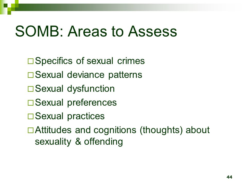 SOMB: Areas to Assess Specifics of sexual crimes