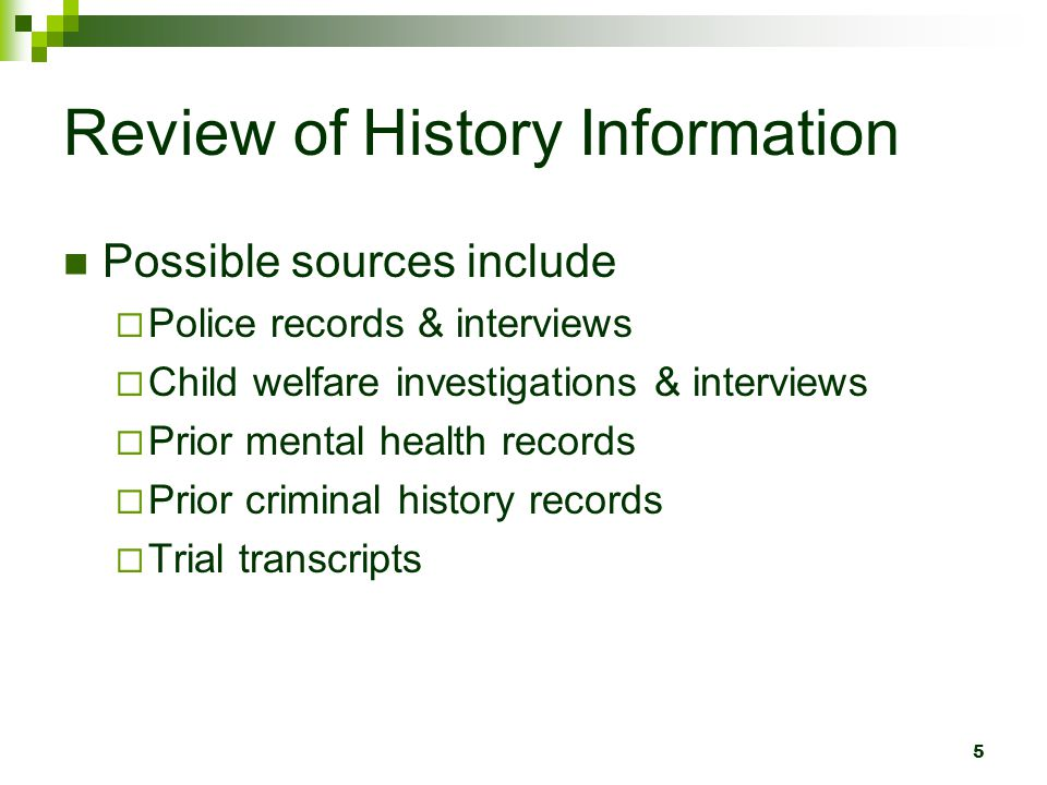Review of History Information