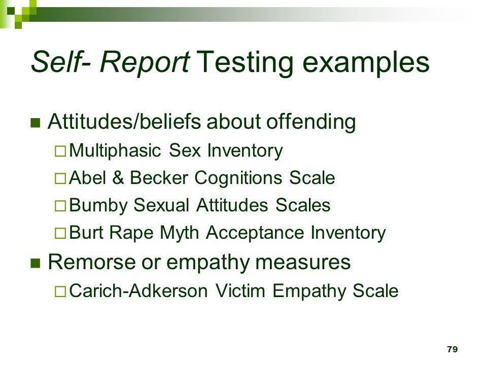 Self- Report Testing examples