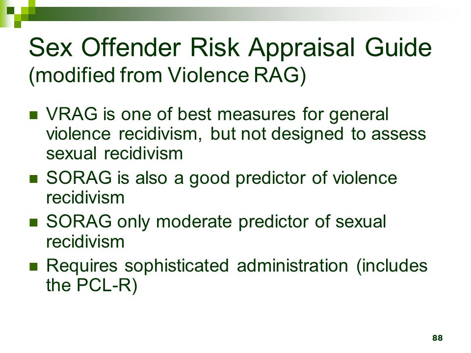 Sex Offender Risk Appraisal Guide (modified from Violence RAG)