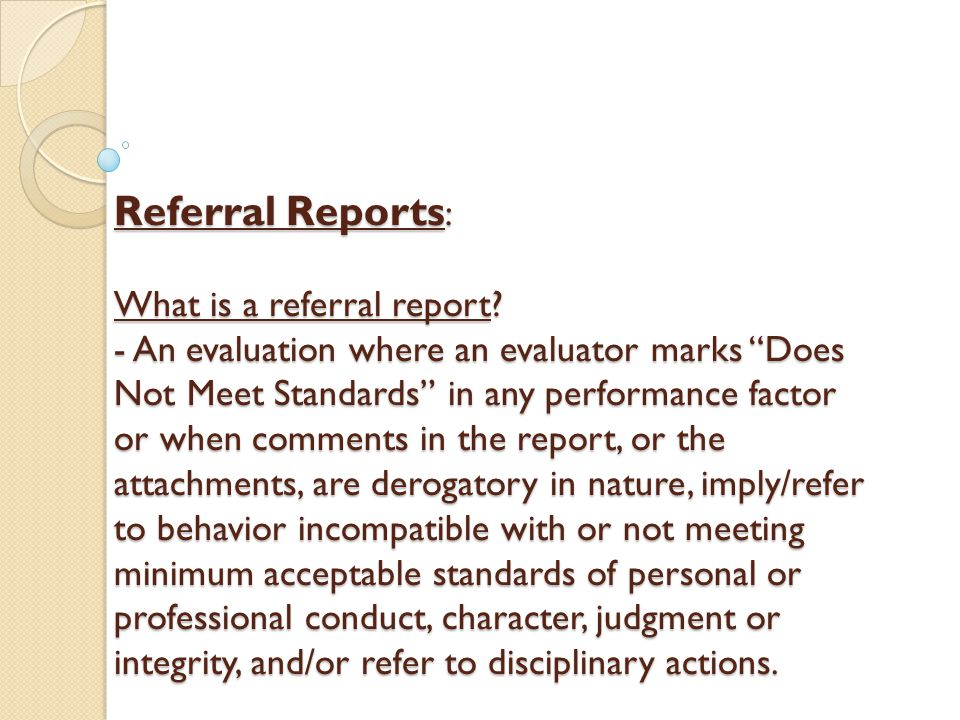 Referral Reports: What is a referral report