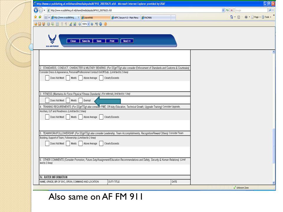 AF FM 910 (EPR) Also same on AF FM 911