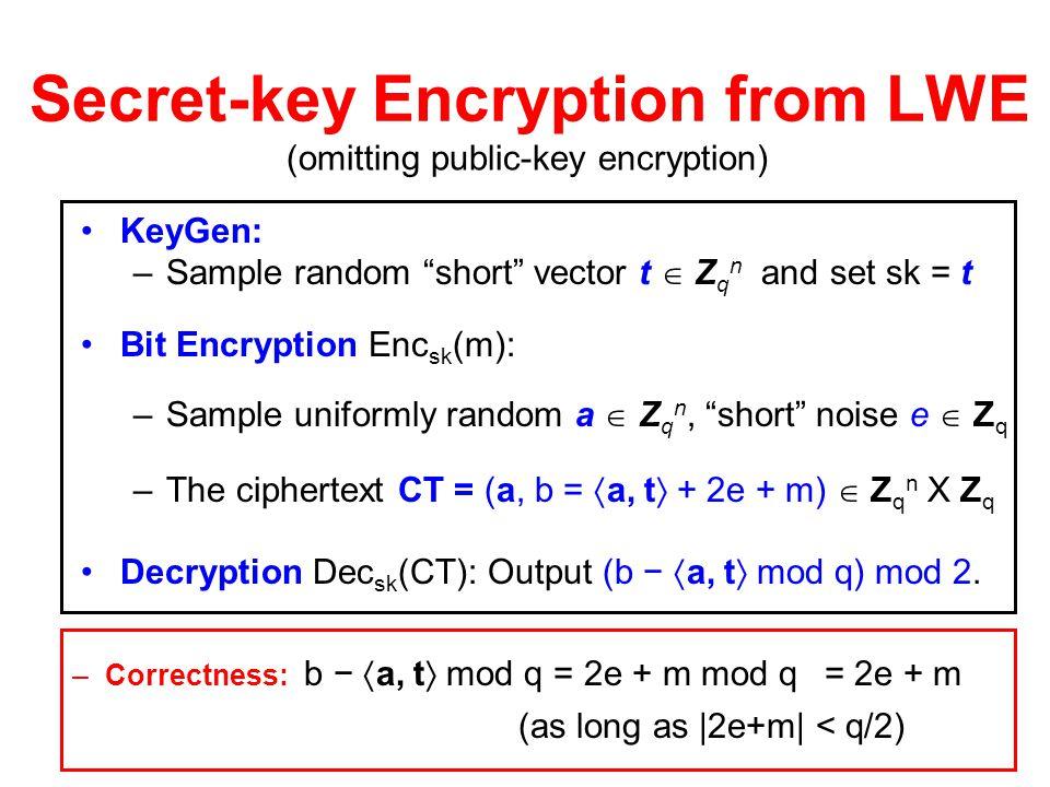 Secret-key Encryption from LWE