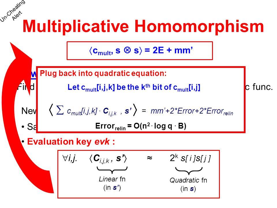 Multiplicative Homomorphism Errorrelin = O(n2 . log q . B)