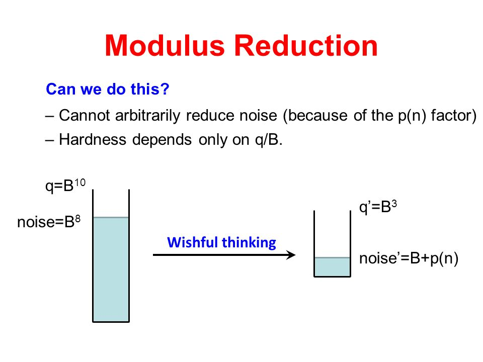 Modulus Reduction Can we do this