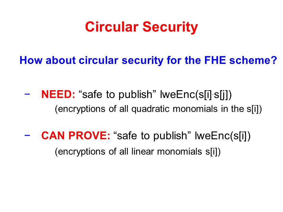 Circular Security How about circular security for the FHE scheme