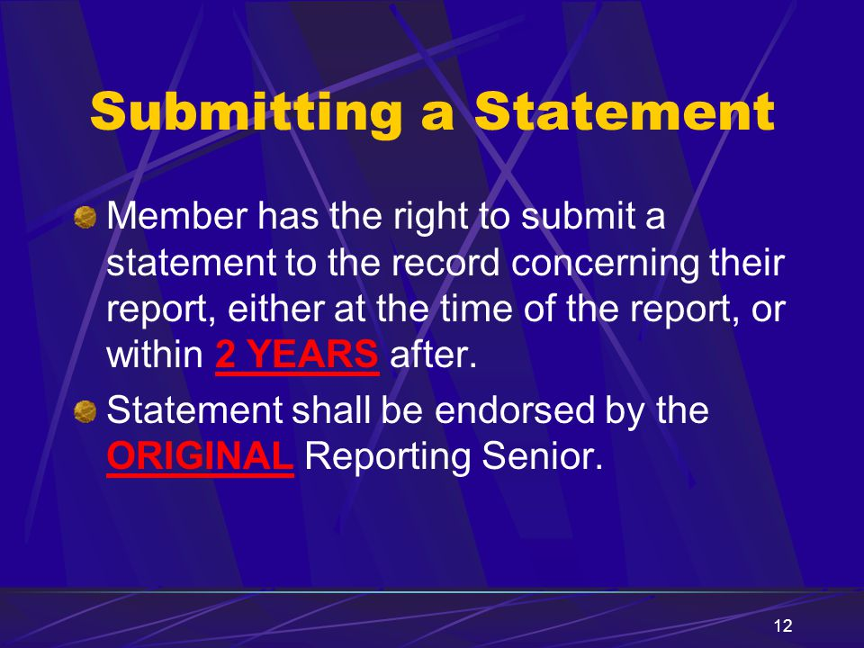 Submitting a Statement
