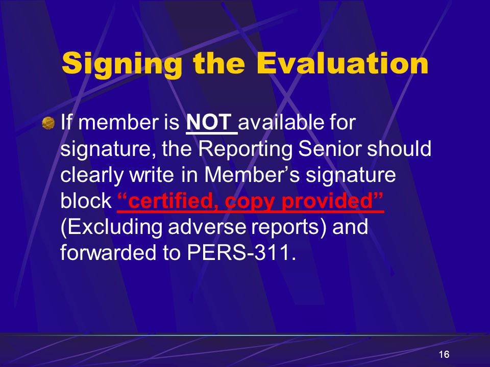 Signing the Evaluation