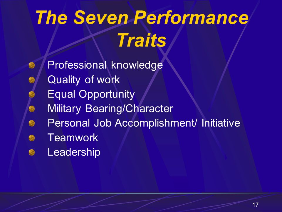 The Seven Performance Traits