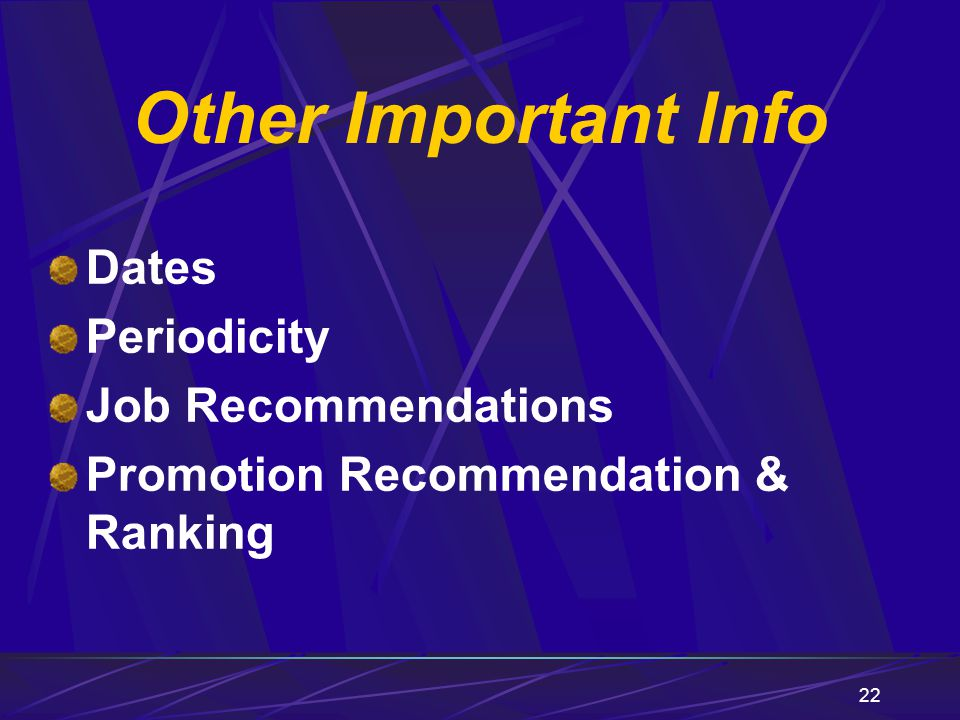 Other Important Info Dates Periodicity Job Recommendations
