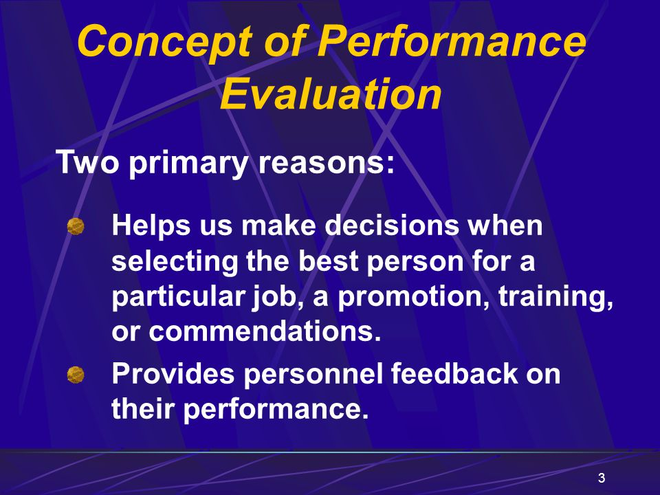 Concept of Performance Evaluation