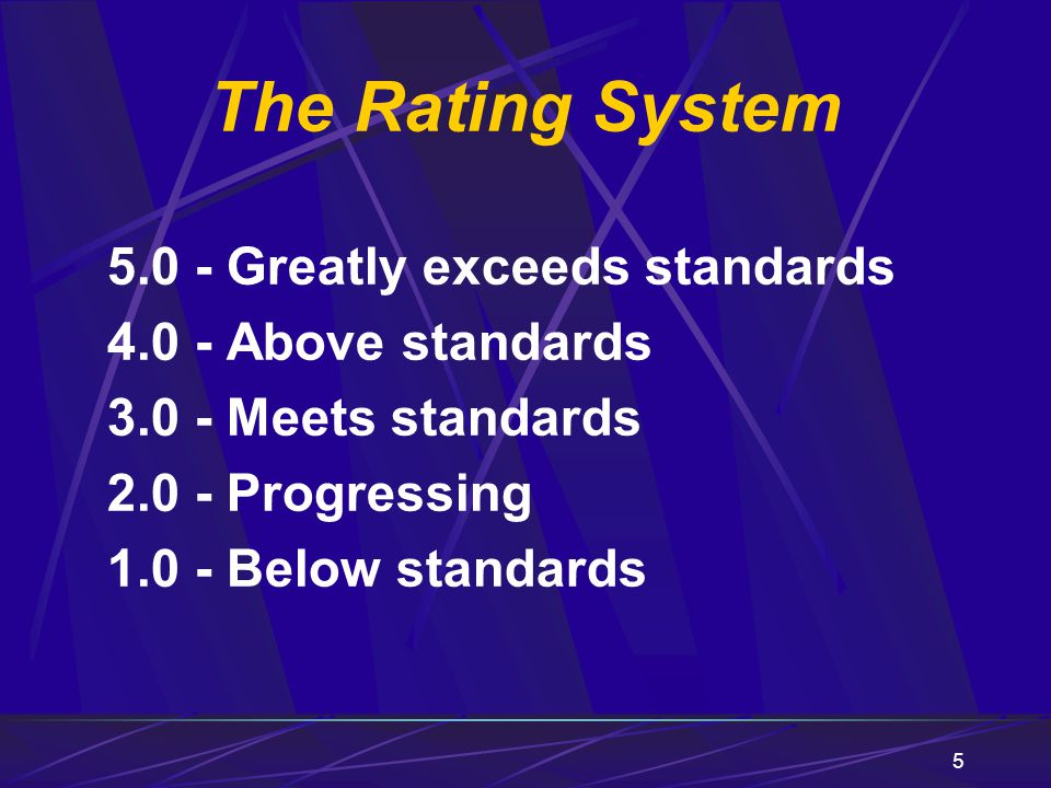 The Rating System 5.0 - Greatly exceeds standards