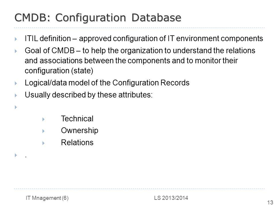 CMDB: Configuration Database