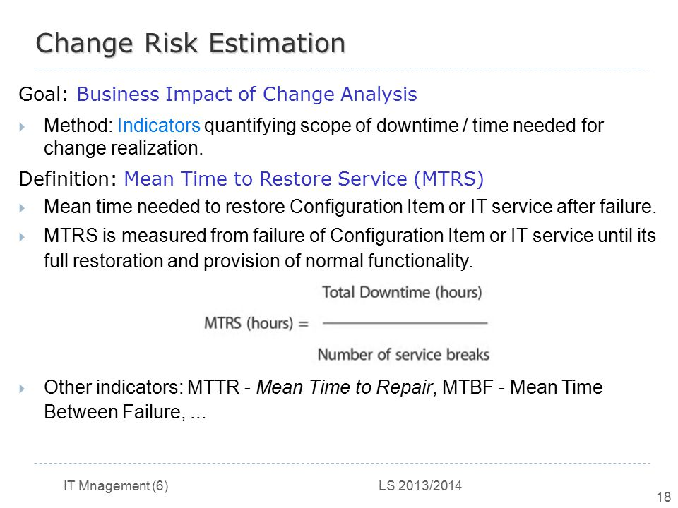 Change Risk Estimation