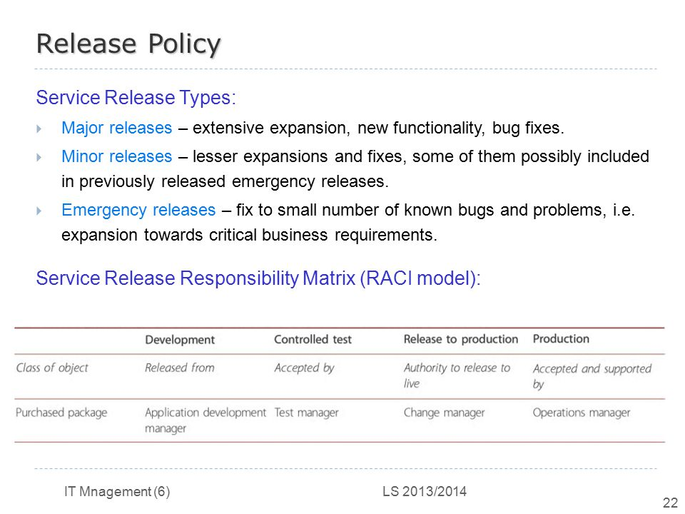Release Policy Service Release Types:
