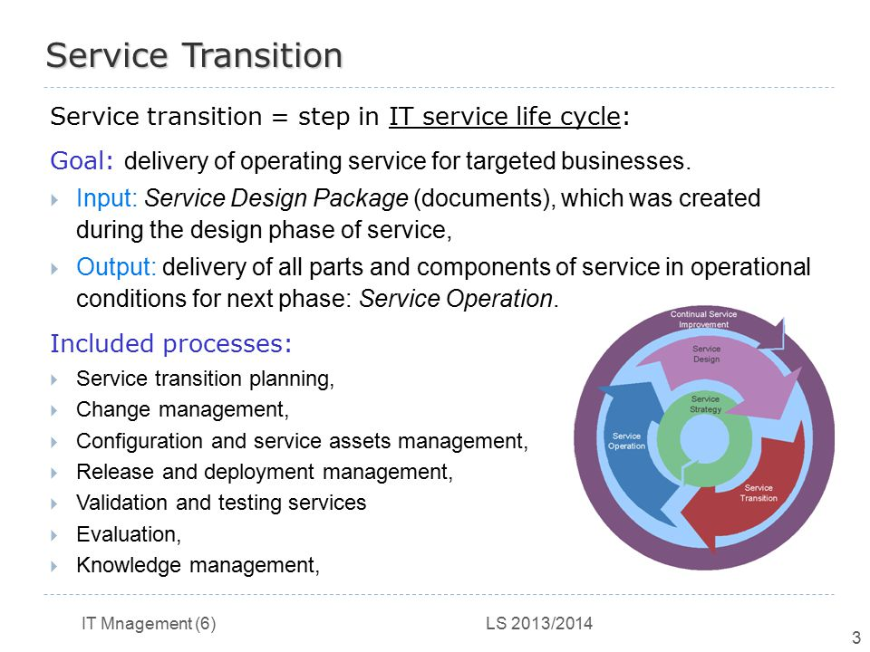 Service Transition Service transition = step in IT service life cycle: