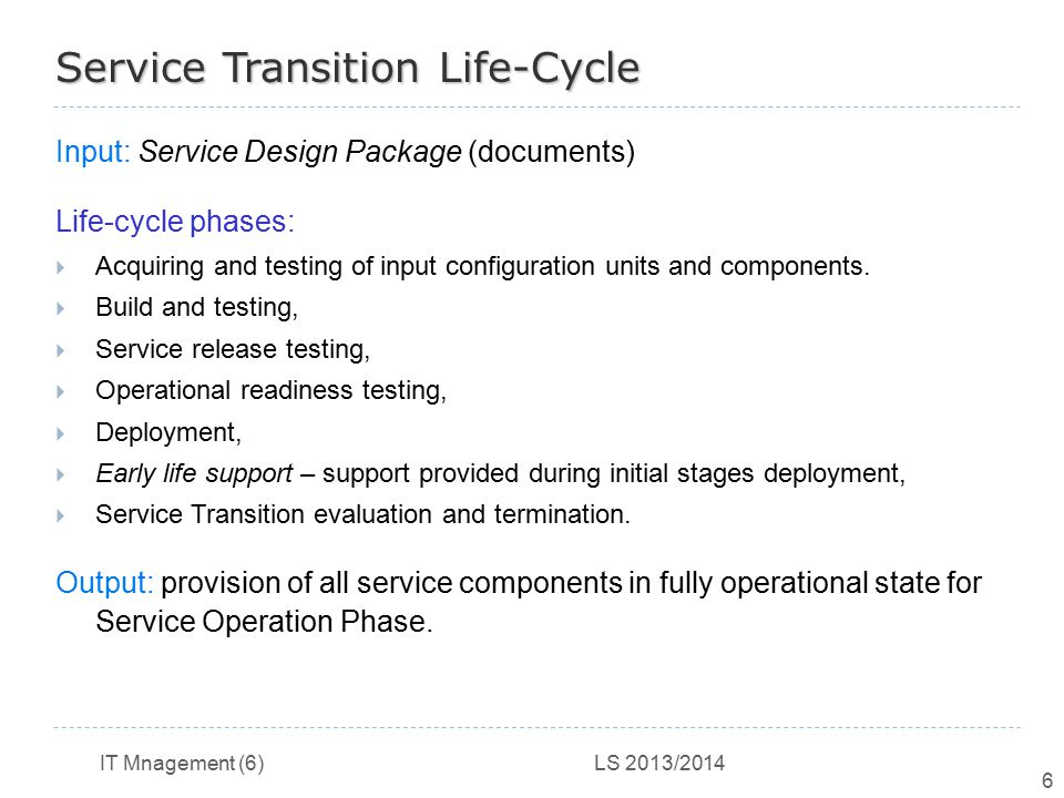 Service Transition Life-Cycle