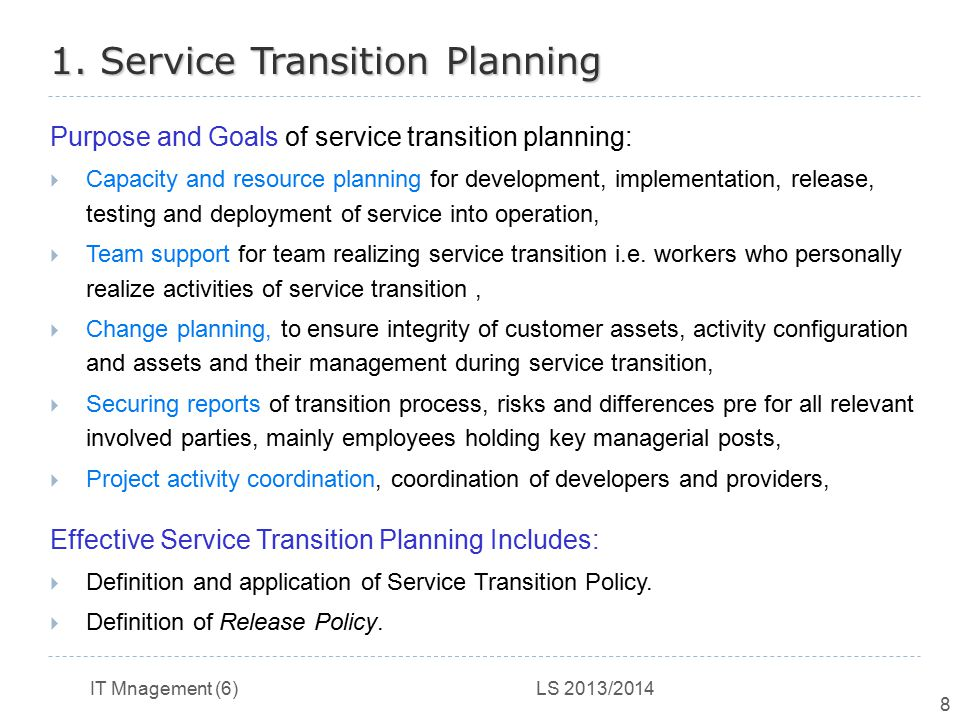 1. Service Transition Planning