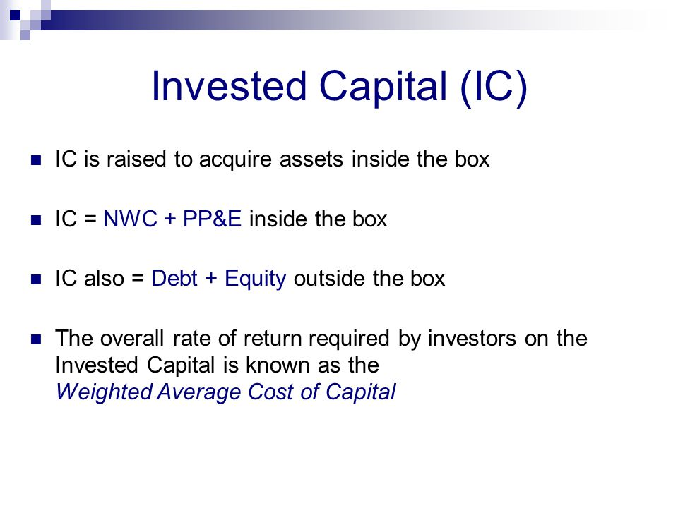 Invested Capital (IC) IC is raised to acquire assets inside the box