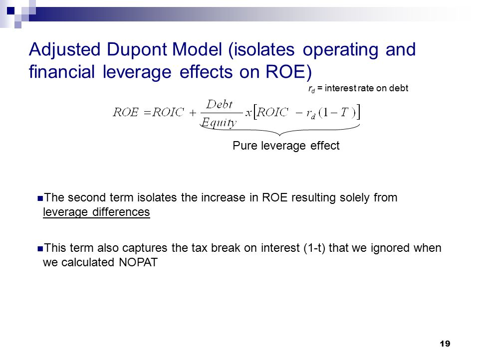 Adjusted Dupont Model (isolates operating and financial leverage effects on ROE)