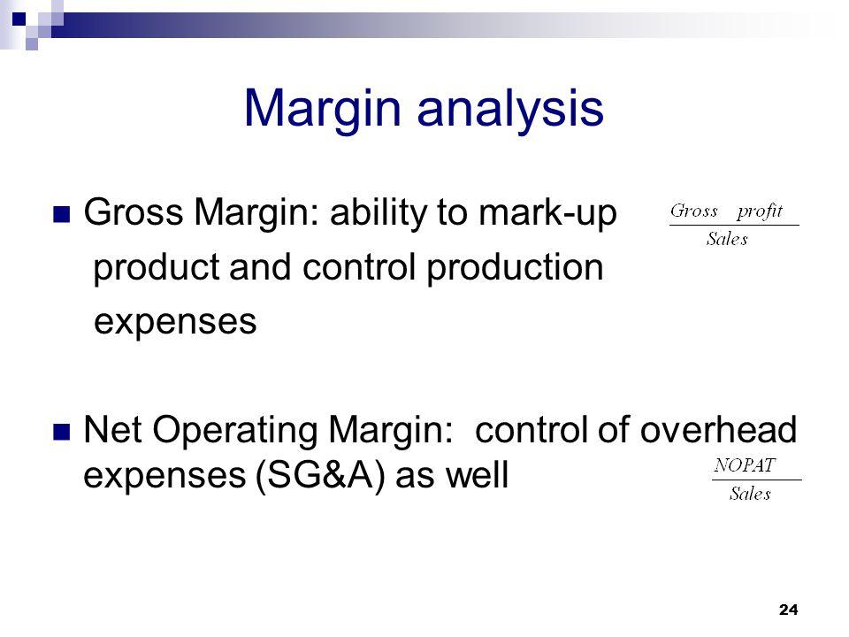 Margin analysis Gross Margin: ability to mark-up