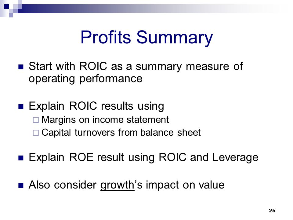 Profits Summary Start with ROIC as a summary measure of operating performance. Explain ROIC results using.