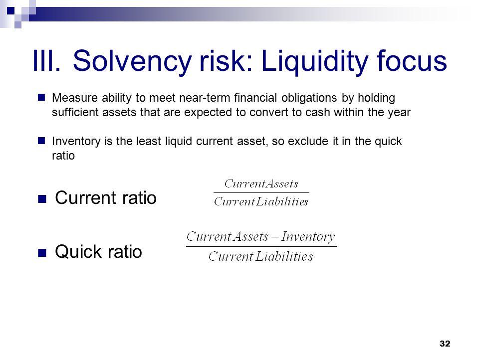 III. Solvency risk: Liquidity focus
