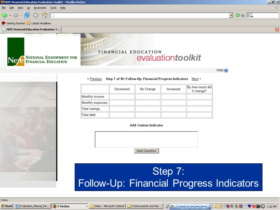 Follow-Up: Financial Progress Indicators