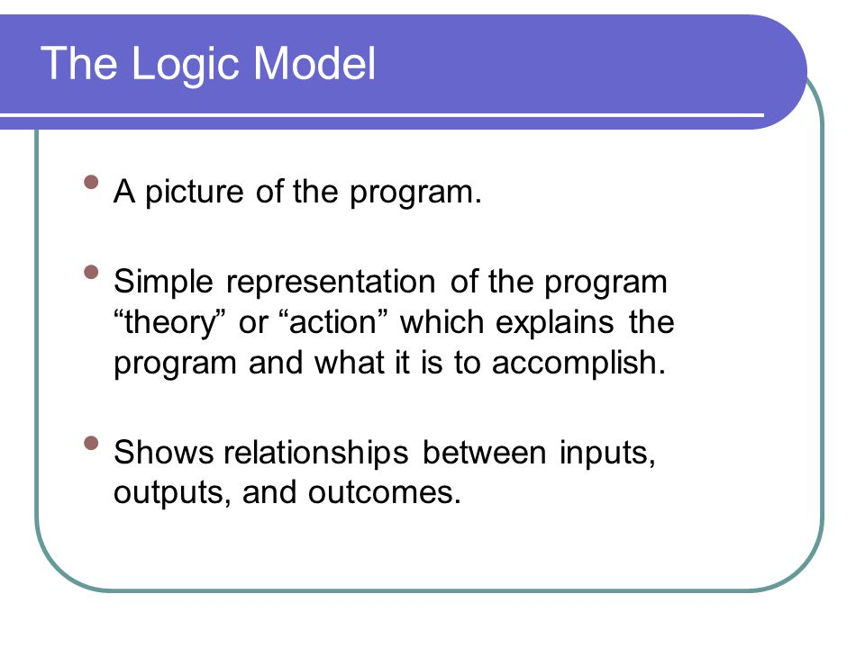 The Logic Model A picture of the program.