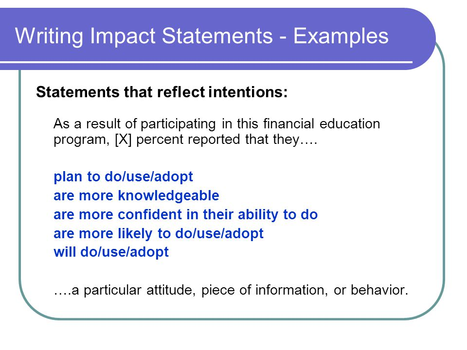 Writing Impact Statements - Examples