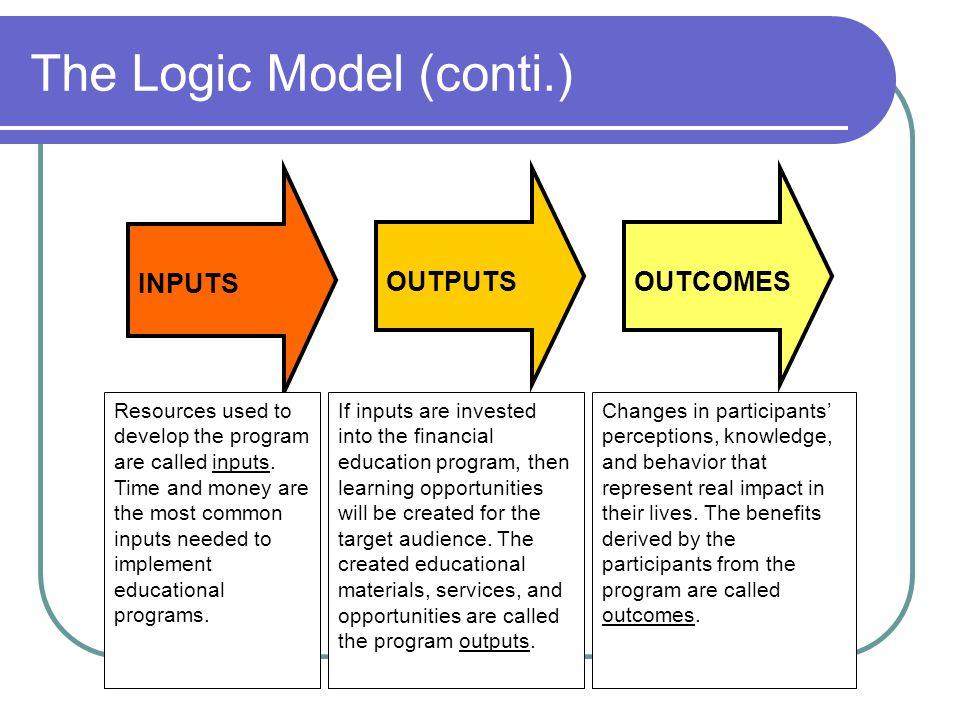 The Logic Model (conti.)