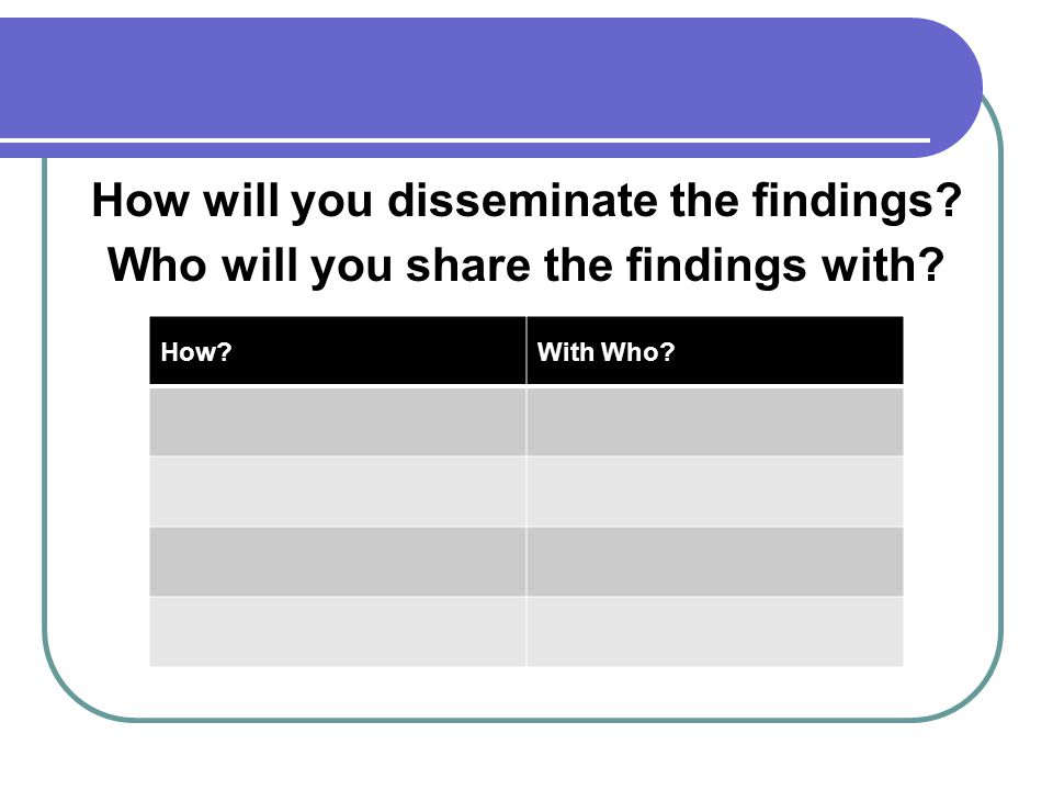 How will you disseminate the findings