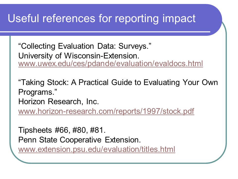 Useful references for reporting impact