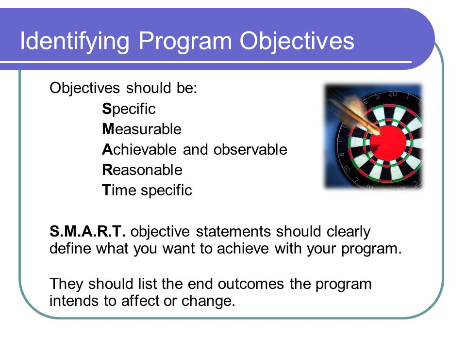 Identifying Program Objectives
