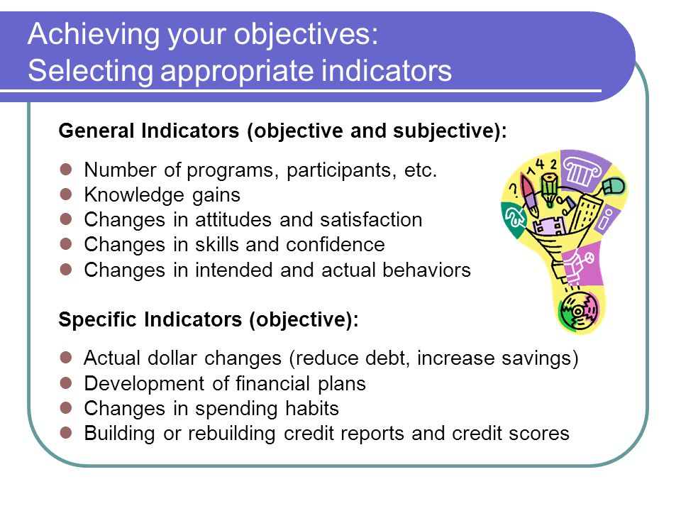 Achieving your objectives: Selecting appropriate indicators