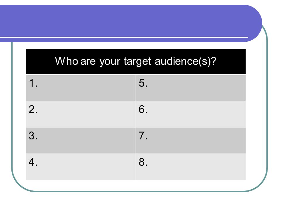 Who are your target audience(s)
