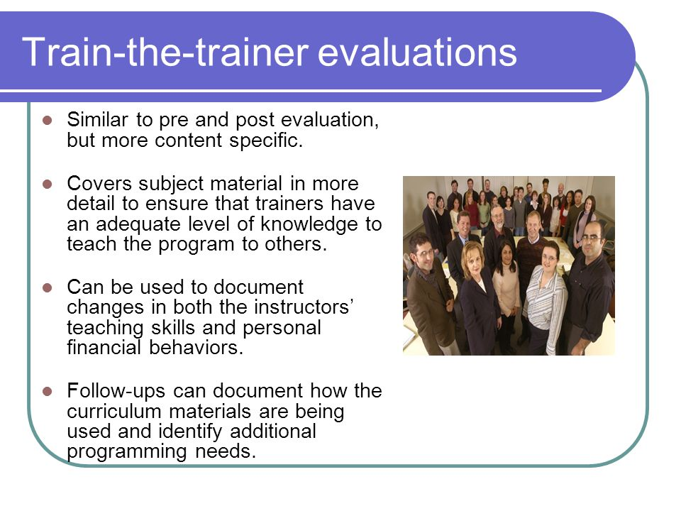 Train-the-trainer evaluations