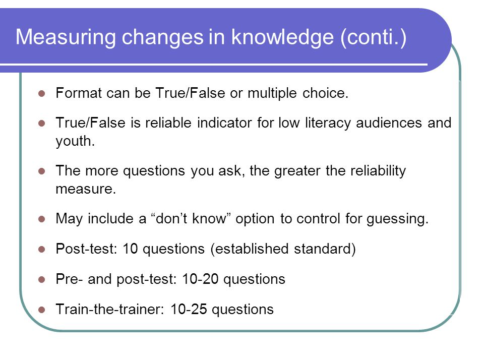 Measuring changes in knowledge (conti.)