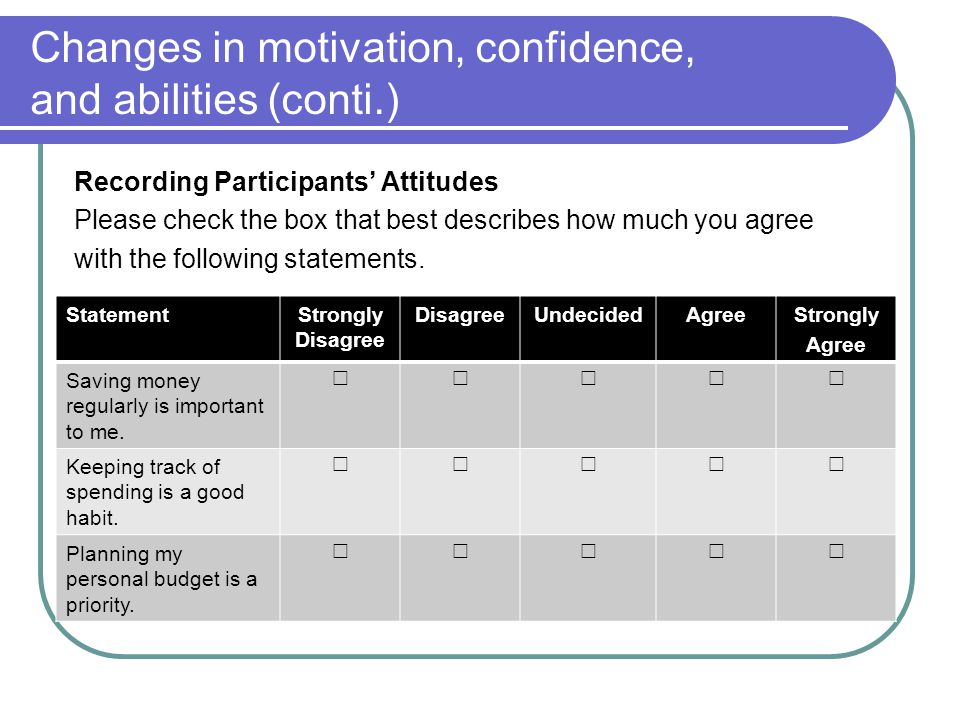 Changes in motivation, confidence, and abilities (conti.)