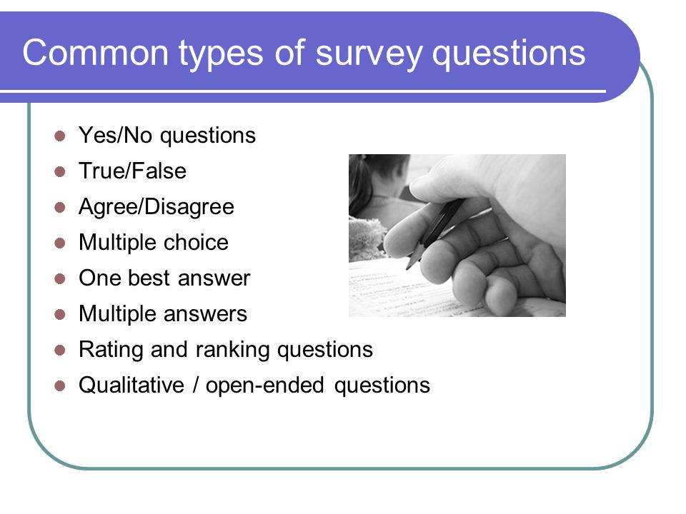 Common types of survey questions