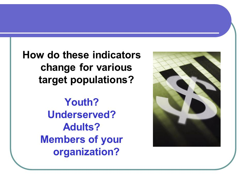 How do these indicators change for various target populations