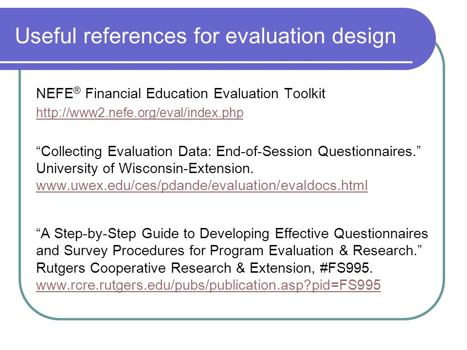Useful references for evaluation design