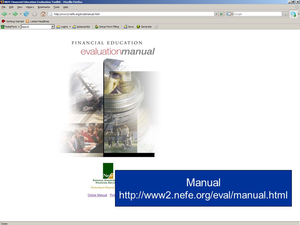 Manual http://www2.nefe.org/eval/manual.html