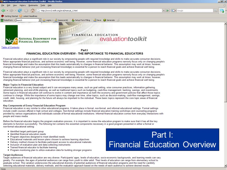 Financial Education Overview